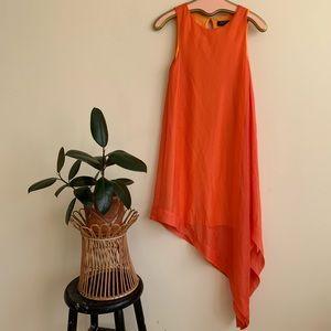 TAHARI Orange Chiffon Asymmetrical Swing Dress